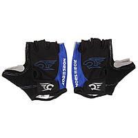 Перчатки велосипедные Robesbon M-XL гелевые беспалые вело велоперчатки 7201 Blue XL