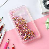Чехол Glitter для Samsung J2 Prime / G532 Бампер Жидкий блеск Звезды Розовый