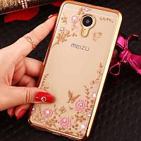 Чехол Luxury для Meizu MX6 Ультратонкий Бампер Gold