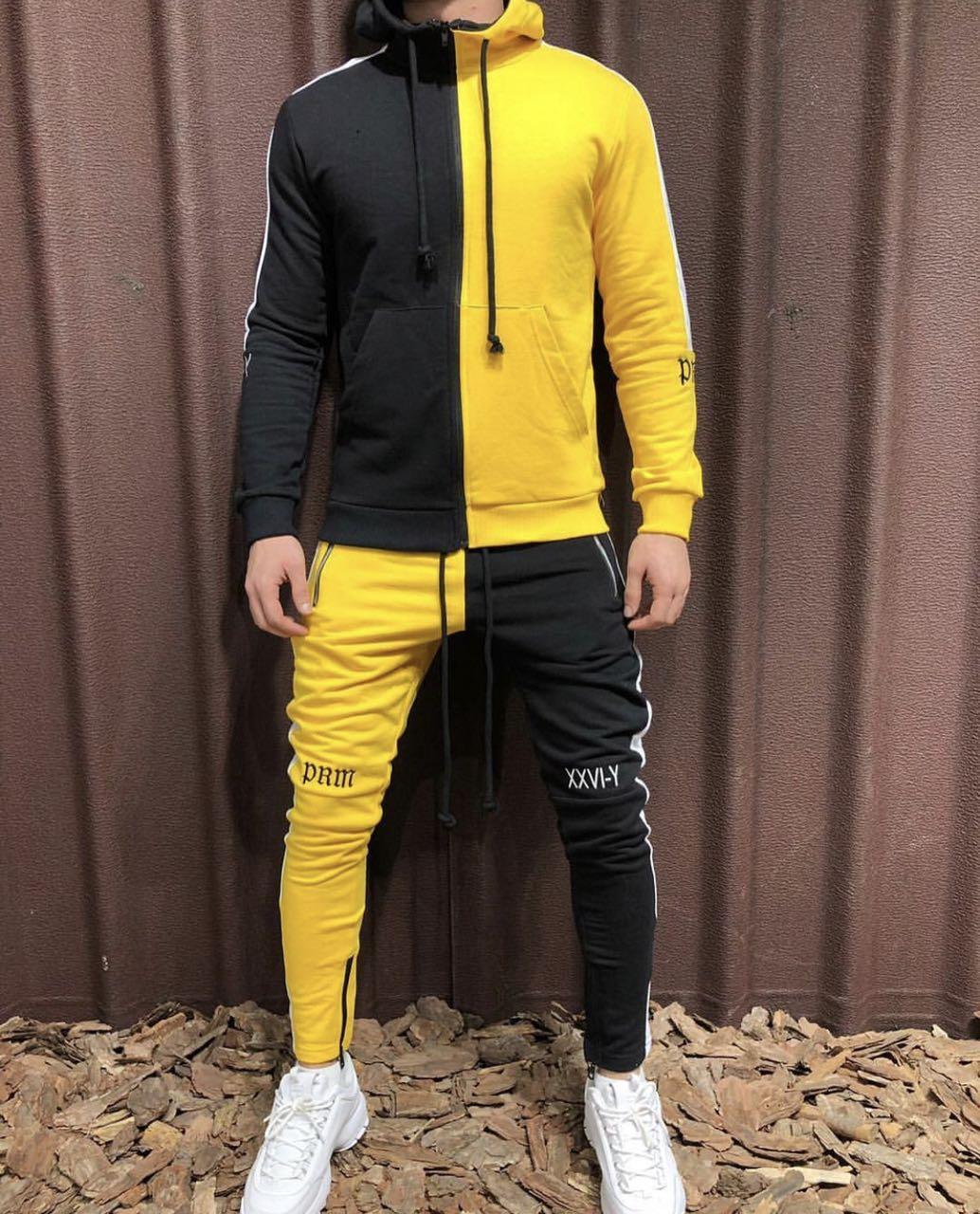Спортивный костюм 2Y premium D5868 черно-желтый