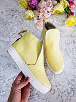 Желтые ботинки детские подростковые 32, 33, 34, 35, 36, 37 размер натуралки комфортные без застежек
