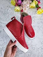 Красные ботинки детские подростковые для девочки с 32 размера осень весна, качественная подростковая обувь