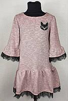 Модное детское платье Колокольчик р. 122-140 пудра, фото 1