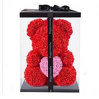 Мишка из роз 40 см, коробка в Подарок, фото 1