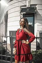 """Приталенное комбинированное мини-платье """"Bourg"""" оборками и длинным рукавом (3 цвета), фото 3"""