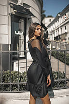 """Приталенное комбинированное мини-платье """"Bourg"""" оборками и длинным рукавом (3 цвета), фото 2"""