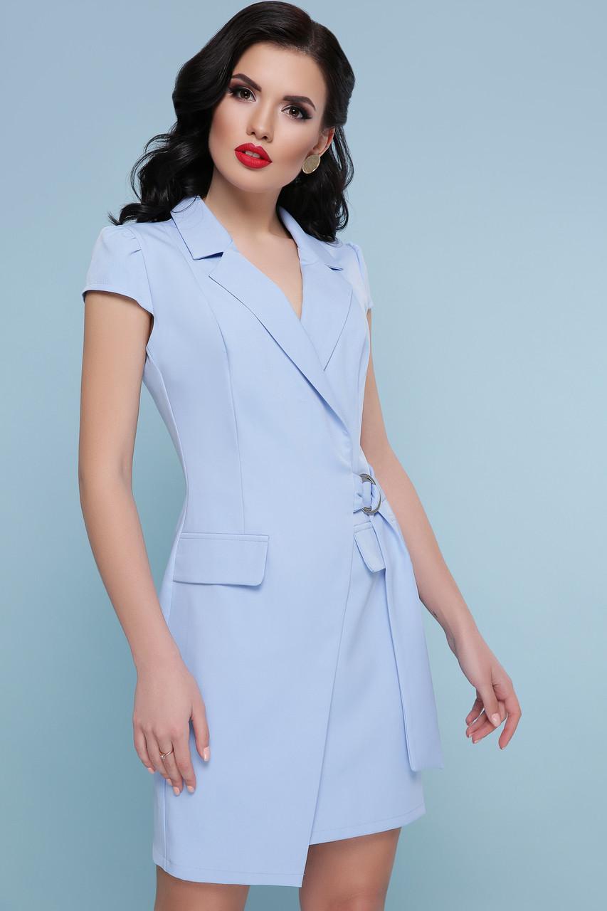 Голубое платье с запахом короткое
