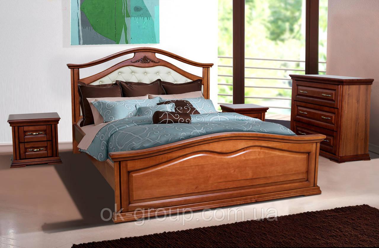 Кровать двуспальная Маргарита 1,8 м ольха массив