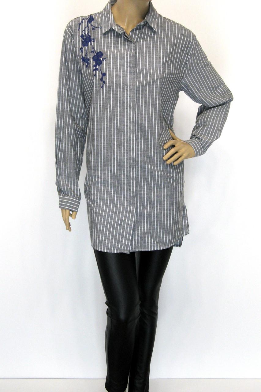 Рубашка-туника с вышивкой большого размера в полоску