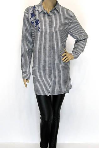 Рубашка-туника с вышивкой большого размера в полоску, фото 2