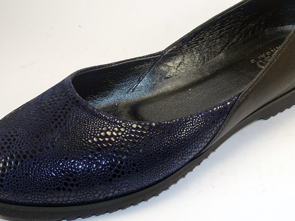 Большой размер балетки женские кожаные Scara U Ript Blu Leather by Rosso Avangard BS цвет синий черный