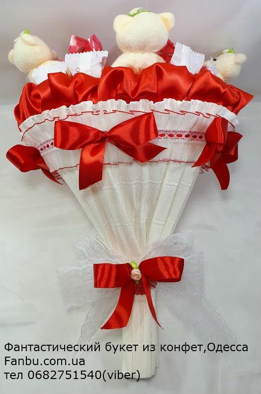 """Букет из мягких игрушек и конфет """"Микс-2""""№15+5: продажа ..."""