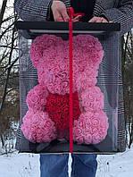 Мишки из роз 40см, Подарочная коробка в подарок, фото 1