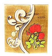 """Оригинальная романтическая открытка из дерева для самых близких и любимых """"BEST WISHES"""", размер 17х19 см"""