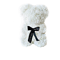 Красивый мишка из латексных 3D роз 40 см с лентой в подарочной коробке | Белый