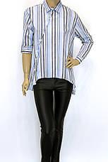 Жіноча стильна сорочка в полоску великого розміру, фото 2