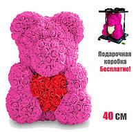 Мишка Тедди из 3D роз. 3D мишка в подарочной упаковке.Мишка из роз 40 см. Фоамиран