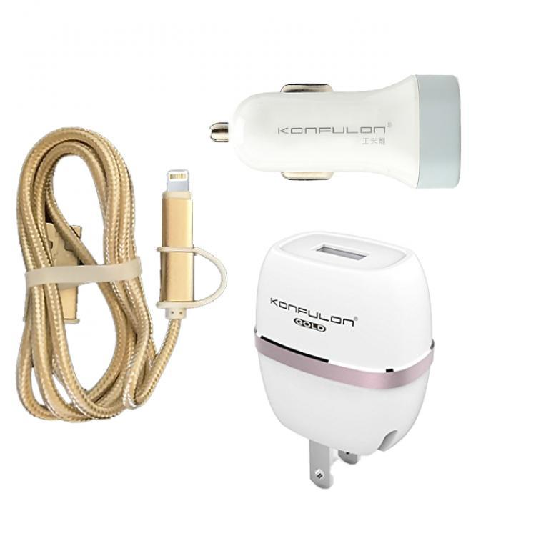 2-in-1 SET Konfulon TC-01 (СЗУ 1A+АЗУ 2,1A/Micro&Lightning Cable 2,1A/1m) White