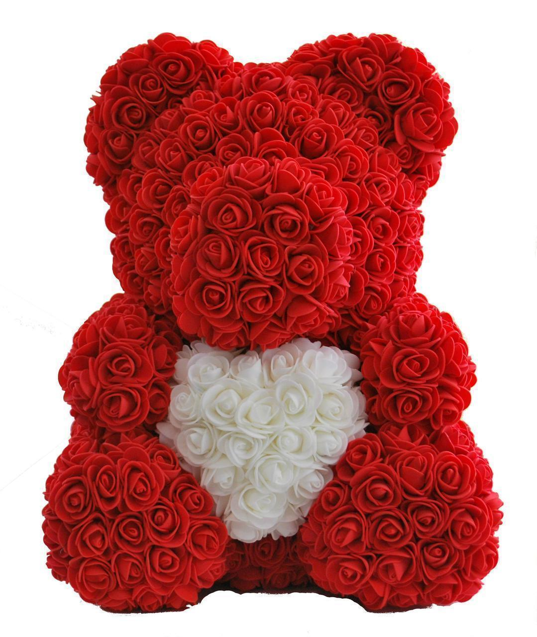 Мишка из мягких роз 40 см. Мишка Тедди из фоамирановых 3D роз.Латексный 3D мишка в подарочной упаковке.