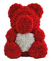 Мишка из мягких роз 40 см. Мишка Тедди из фоамирановых 3D роз.Латексный 3D мишка в подарочной упаковке. , фото 1