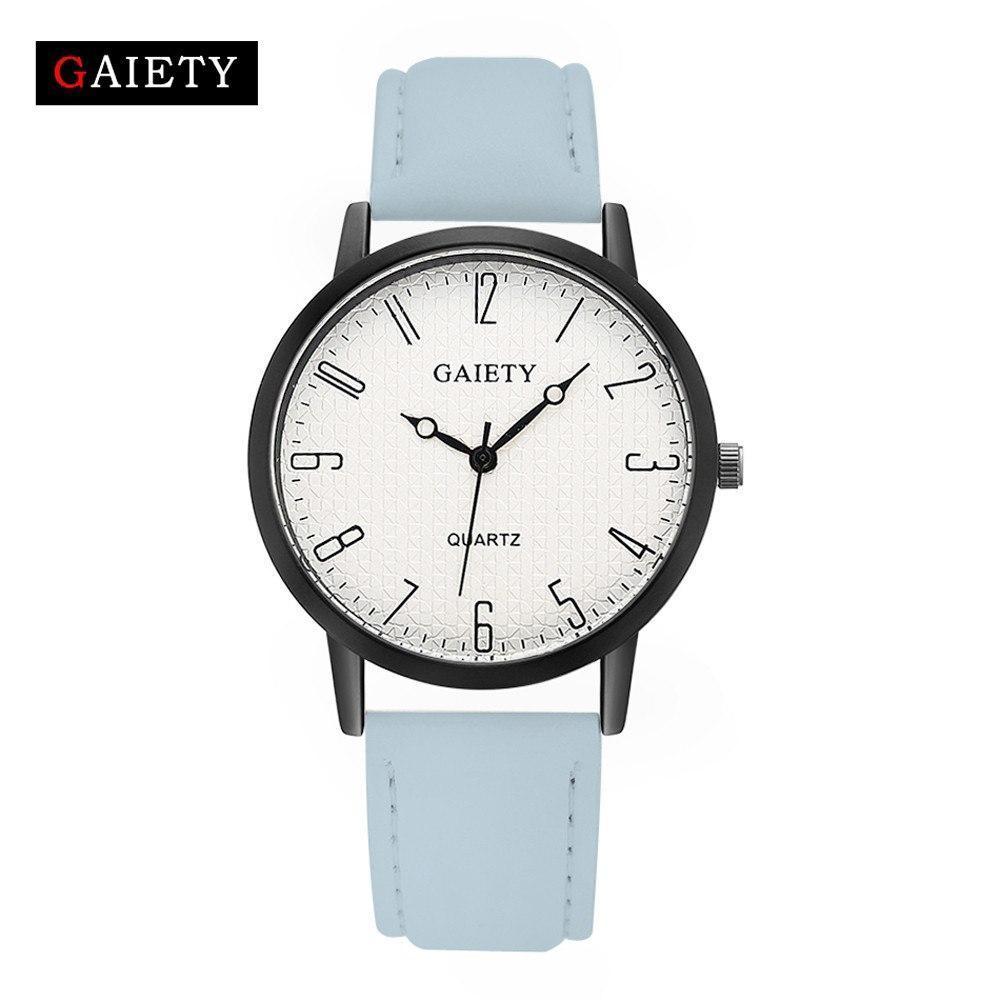Женские наручные кварцевые часы c бледно-голубым ремешком 87610 | 4 Цвета