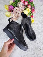 Черные ботинки на черной подошве детские подростковые для девочки с 32 размера осень весна