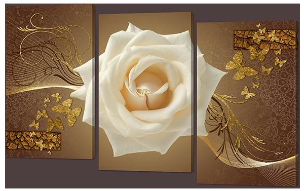Модульная картина Interno Эко кожа Роза белая и золото 84х55см (А944S)