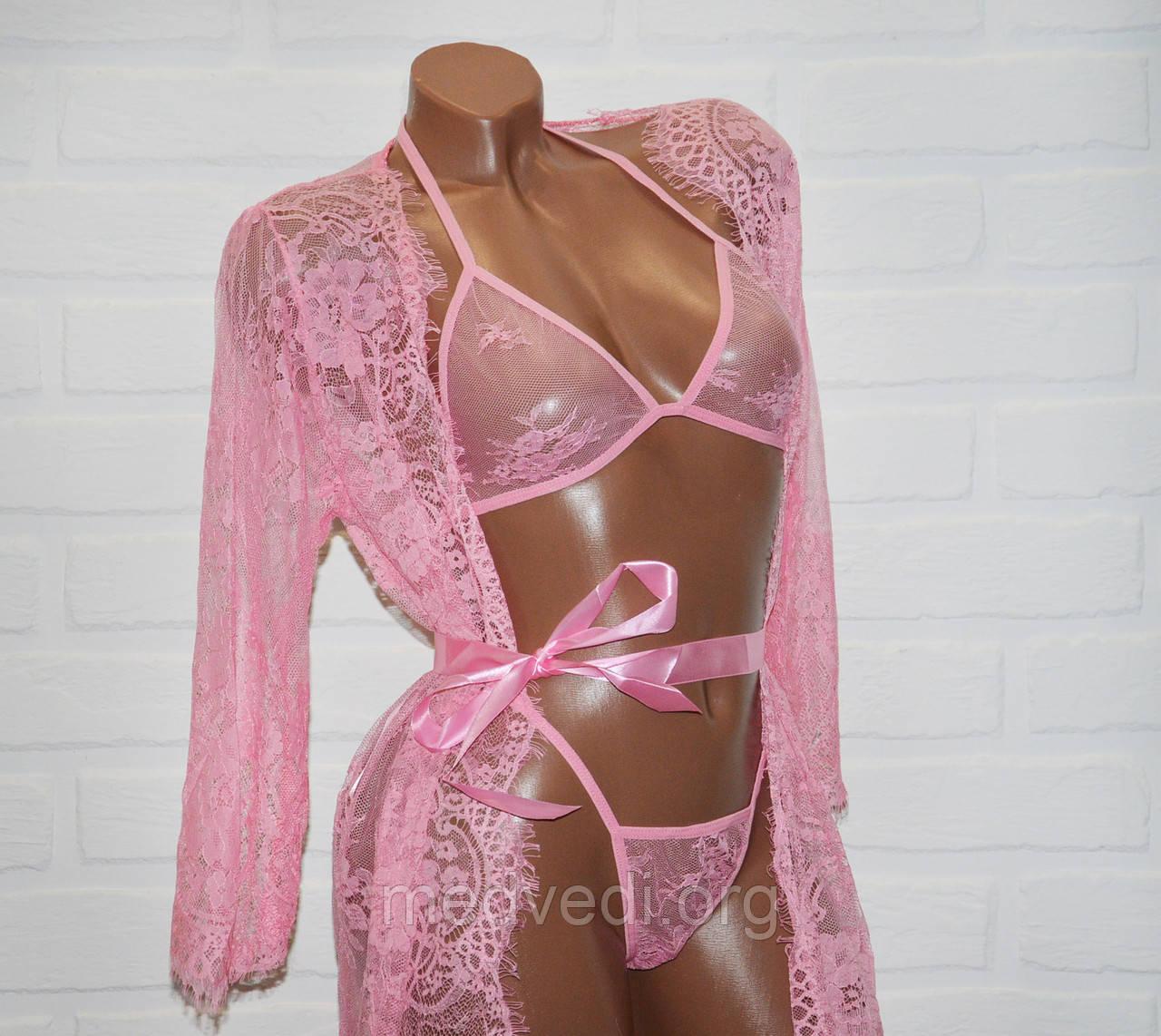Комплект сексуального белья халат, бюстик + трусы стринги, розового цвета, размер S