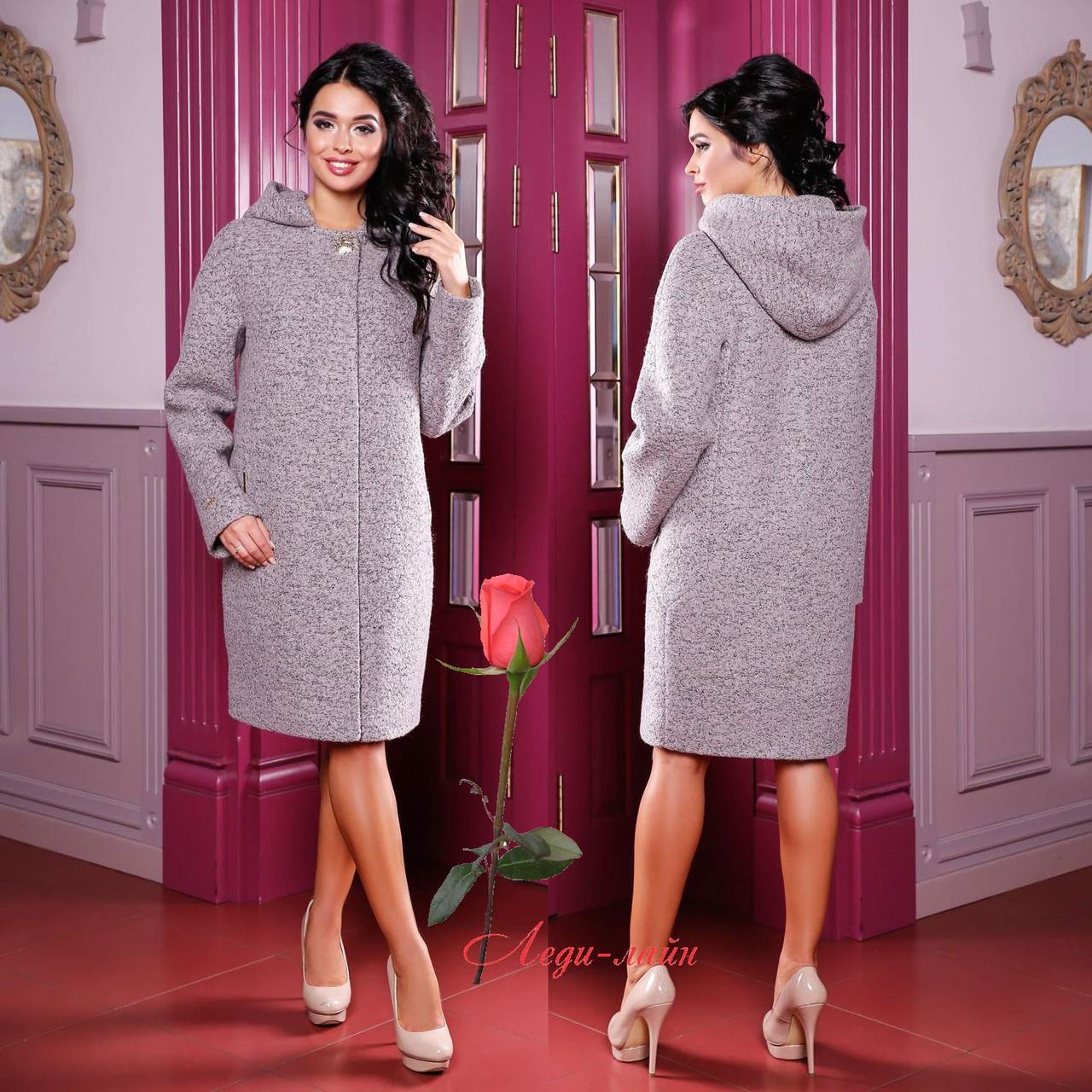 Демисезонное пальто с капюшоном  F  77981 Серый Тон 48