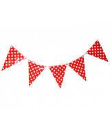 Флажки-банер для украшения праздника красные в горошек  250 см.
