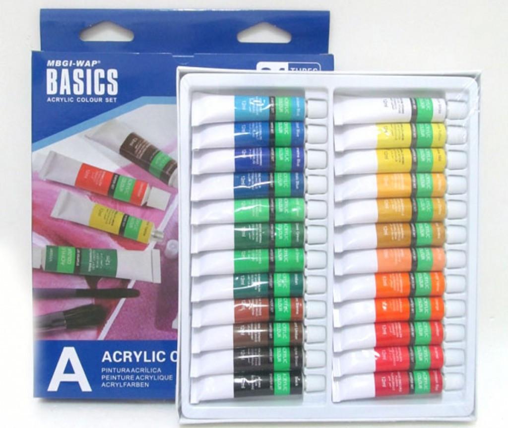 Набор красок акриловых Basics 24 цвета в тубах по 12 мл MGBI-WAP, EA2412C-3, 201867