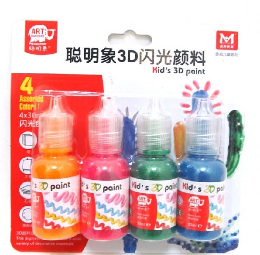 Клей-краска с глиттером 4 цвета по 30 мл MBGI-WAP, GFP0430-B, 241023