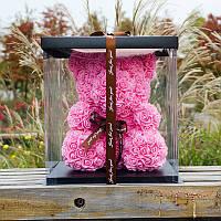 Мишки из роз 25 см + Подарочная упаковка, фото 1
