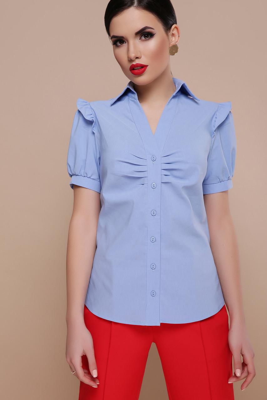 4e180d88328 Голубая блузка-рубашка с коротким рукавом - Интернет-магазин одежды  ALLSTUFF в Киеве