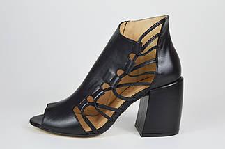 Босоножки с натуральной кожи женские черные Lottini 22684, фото 2
