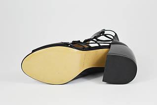 Босоножки с натуральной кожи женские черные Lottini 22684, фото 3