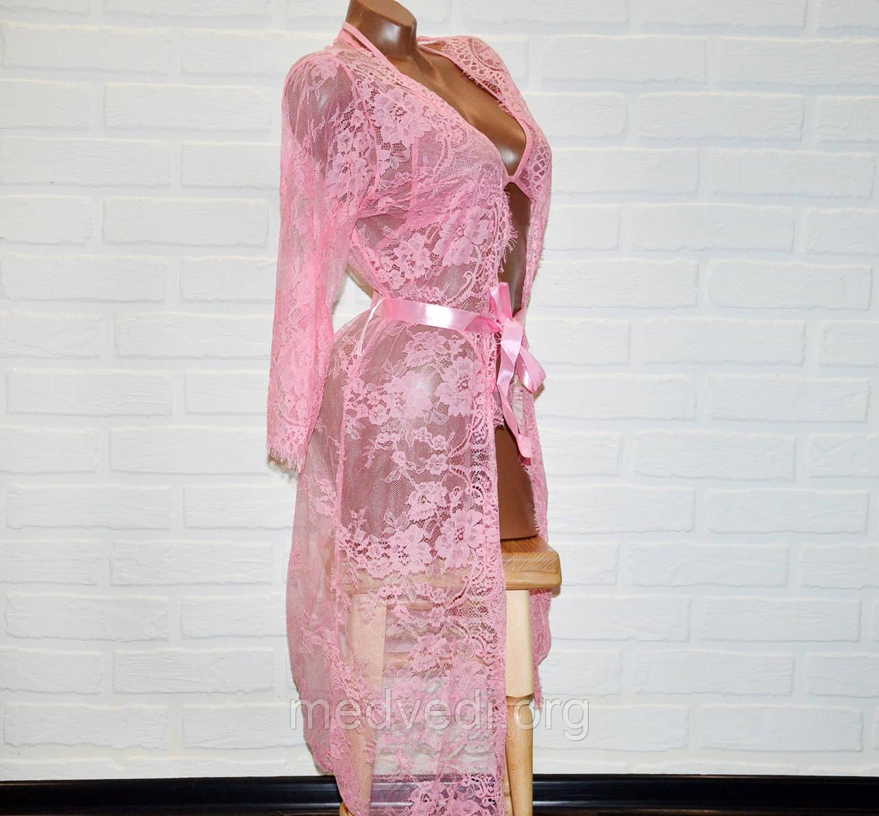 Розовый кружевной комплект женского белья халат, бюстгальтер и трусы стринги, размер L