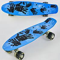 Скейт пенни борд Р 10960 Best Board колеса ПУ, светящиеся