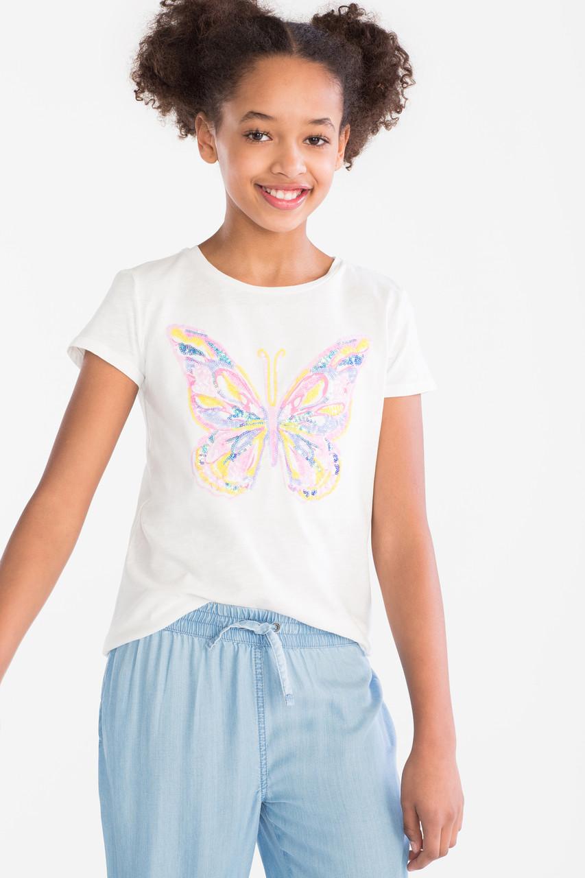 Белая футболка на девочку с бабочкой из пайеток C&A Германия Размер 146-152