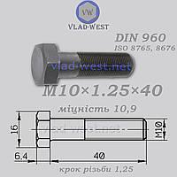 Болт з дрібною різьбою DIN 960 міцність 10,9 М10х1,25х40 чорний (без покриття)