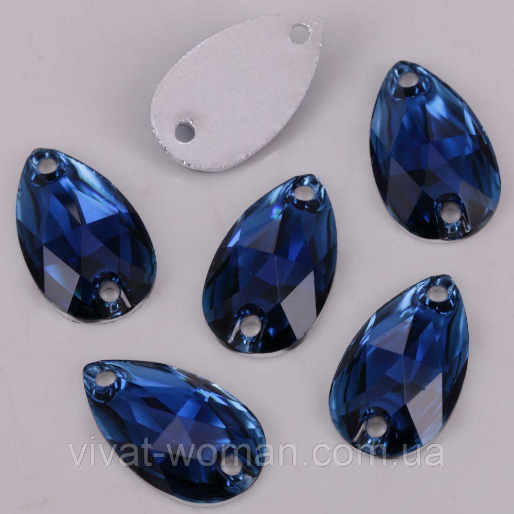 Стрази пришивні Крапля 7х12 мм Sapphire, синтетичне скло