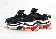 Кроссовки мужские черные с белым красным модныетрехслойная подошва весенние Balenciaga Triple S Баленсиага