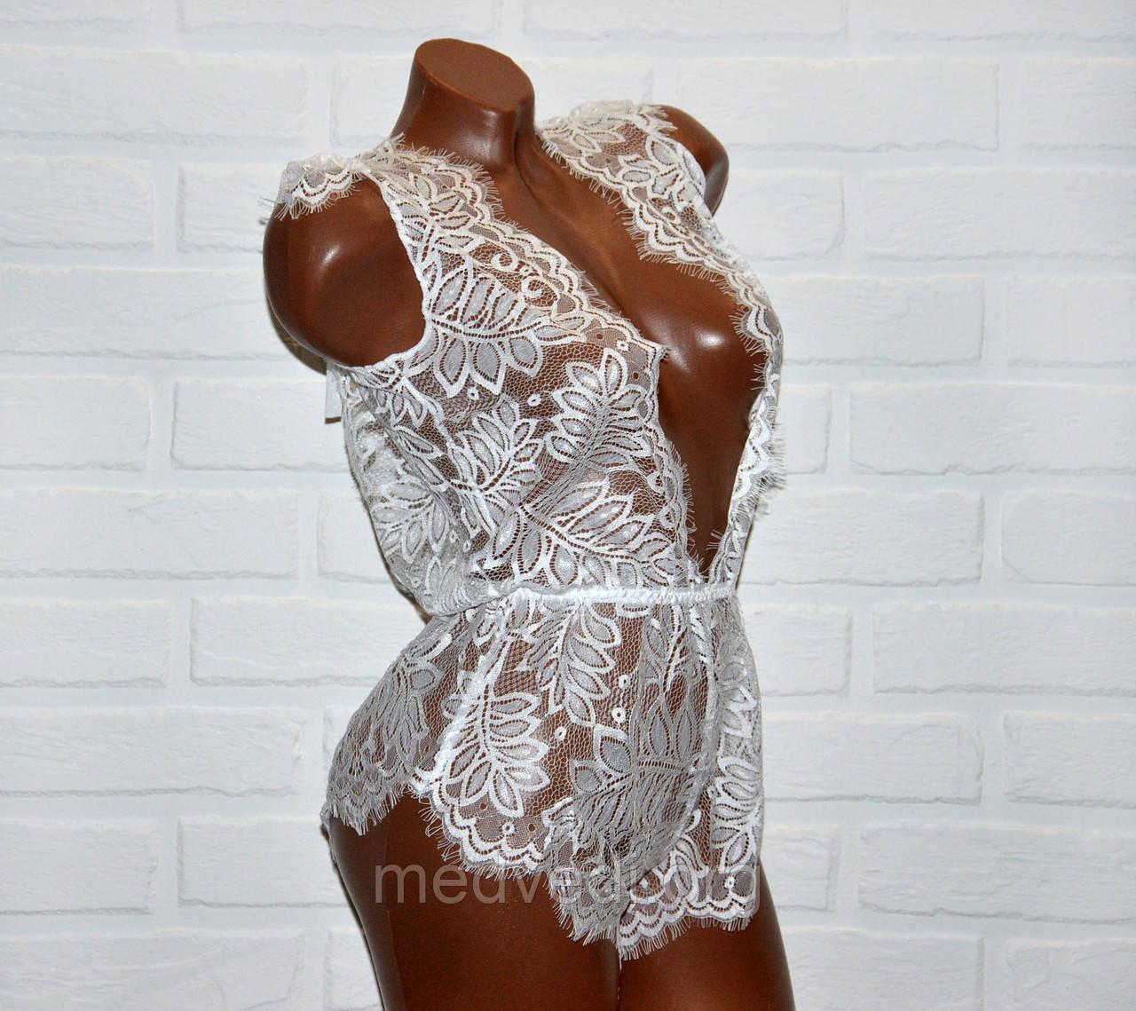 Белое кружевное женское белье, сексуальное боди размер M (44)
