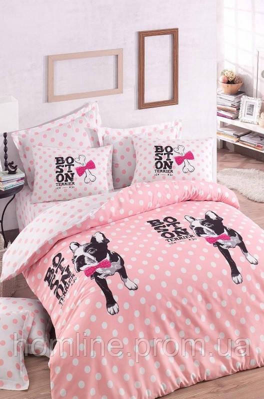 Постельное белье Eponj Home ранфорс Boston розовое евро размер