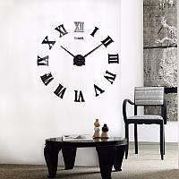Часы настенные 3Д 100 см Римские черные наклейки стикеры на стену большие [Пластик]