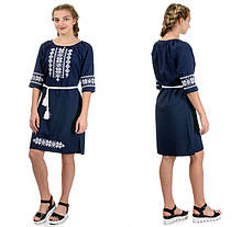 """Жіноче плаття-вишиванка """"Оксана"""" льон-габардин ( темно-синій)"""