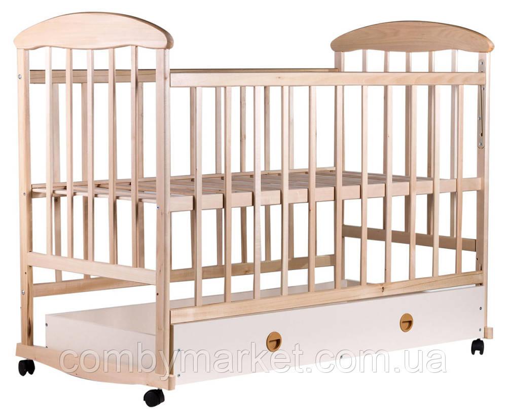 Кроватка детская Наталка с ящиком ольха светлая