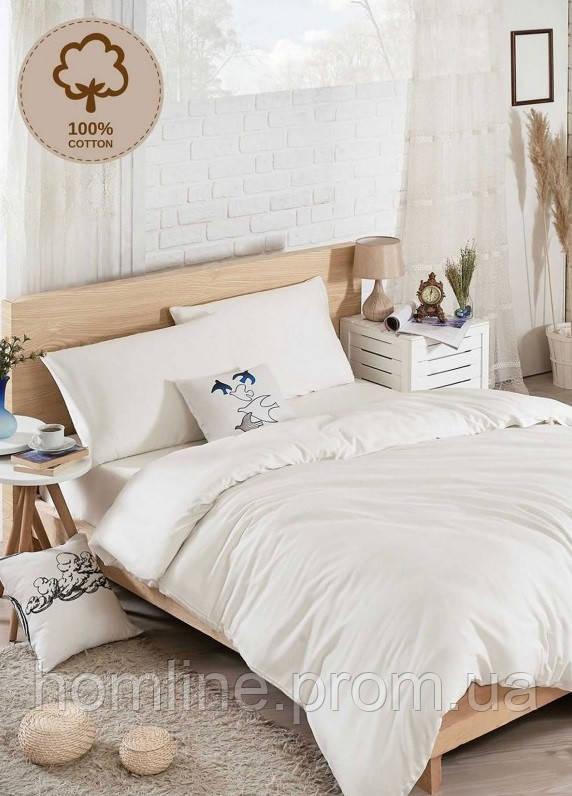 Постельное белье Eponj Home Люкс ранфорс D.Boya beyaz белый евро размер
