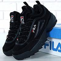 Зимние мужские и женские кроссовки Fila Disruptor 2(II) Black с мехом