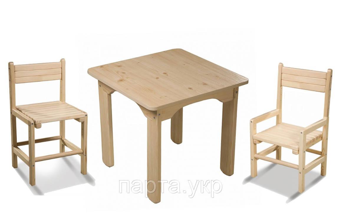 Детский стол и 2 стульчика, сосновый